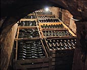 Champagne aging in cellar